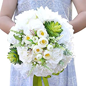 Bridal Bouquet Combined Silk Spray Artificial Roses Peony Flower Succulents with Ranunculus Wedding Bouquet 120