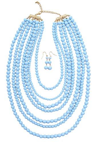 ScarvesMe Jy Fashion 7 Strand Layered Bead Luxury Costume Necklace Set (Light -