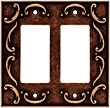 BRAINERD 64260 French Lace Double Decorator Wall Plate / Switch Plate / Cover, Sponged Copper