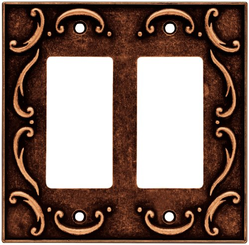 BRAINERD 64260 French Lace Double Decorator Wall Plate / Switch Plate / Cover, Sponged Copper - Brainerd French Lace