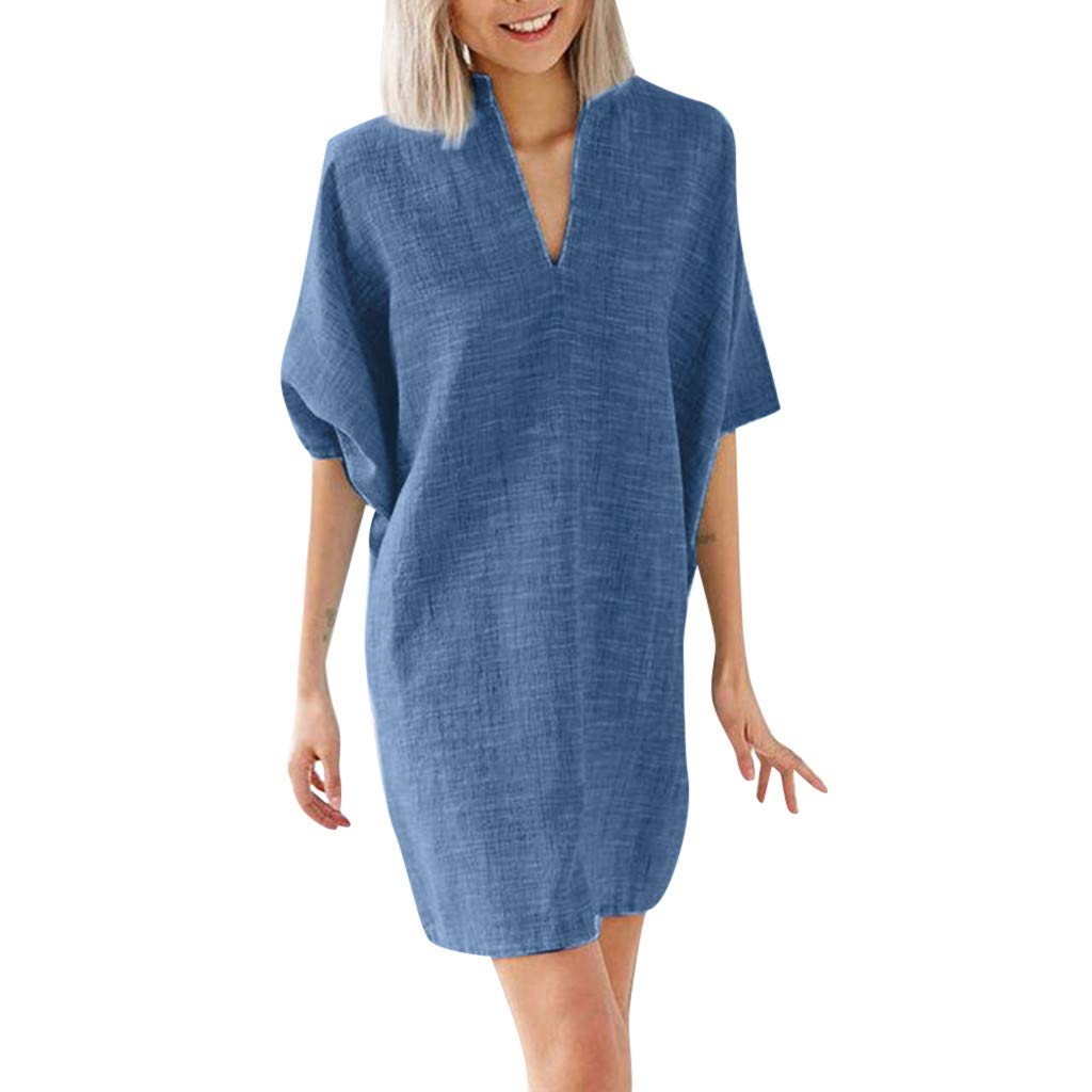 Mlide Women's Casual Dress Half Sleeve Button Down V-Neck Pockete Loose T-Shirt Dress Oversized Dress Casual Shift Dresses,Blue X2XL