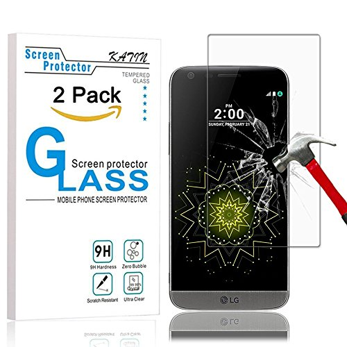LG G5 Screen Protector – KATIN [2-Pack] Premium Tempered Glass for LG G5 [Will Not fit Whole screen] 9H Hardness with Lifetime Replacement Warranty