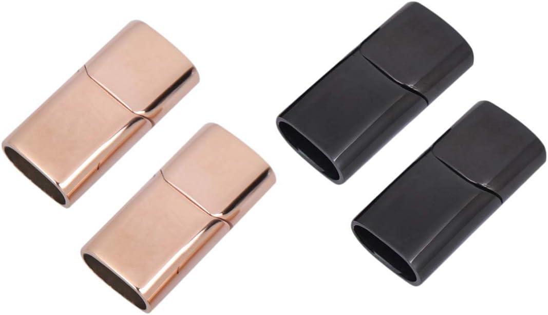 Exceart 2Pcs Magnetschnalle Sicherheitsverschl/üsse Leder Verschl/üsse Magnetverschluss Edelstahl Schnalle f/ür Armband Halskette Gurt