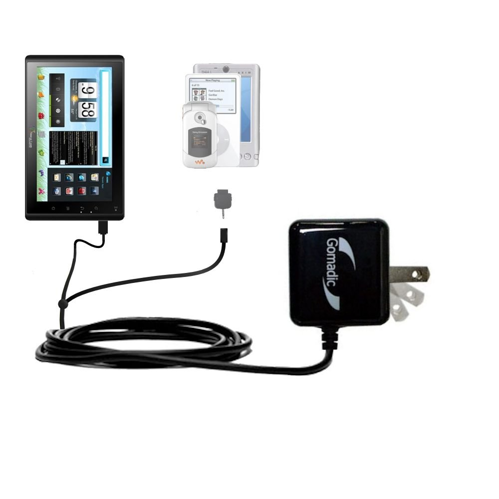 Gomadic Multi Port AC Home Wall Charger designed for the Visual Land Connect 9 (VL-879 / VL-109) - Uses TipExchange to charge up to two devices at once