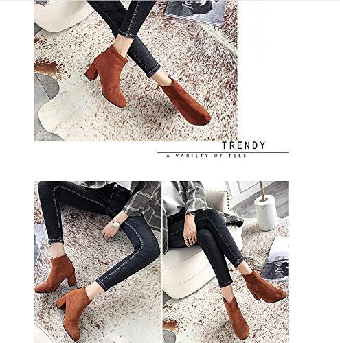 Europa und Amerika Herbst und Winter High Heel dick dick dick mit rundem Kopf Martin Stiefel Damen Stiefel große Stiefeletten B07K358M3C Stiefel Personalisierungstrend f691ca