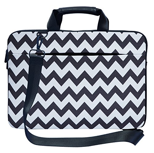 Meffort Inc 17 17.3 inch Canvas Laptop Shoulder & Hand Carrying Bag Case with Side Protection - Gray Chevron Pattern