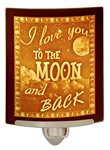Love You to The Moon and Back - Curved Porcelain Lithophane Night Light ()