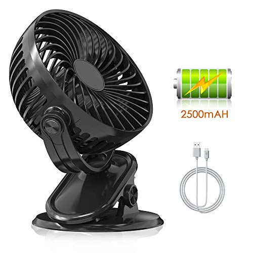Clip Desk Office - USB Clip Desk Mini Fan for Personal Table with 2500mAh Battery - Rechargeable, Quiet, Portable, Multi-Angle Rotation, 2 in 1 Applications, Strong Wind for Baby Stroller, Car, Office, Home, Outdoor