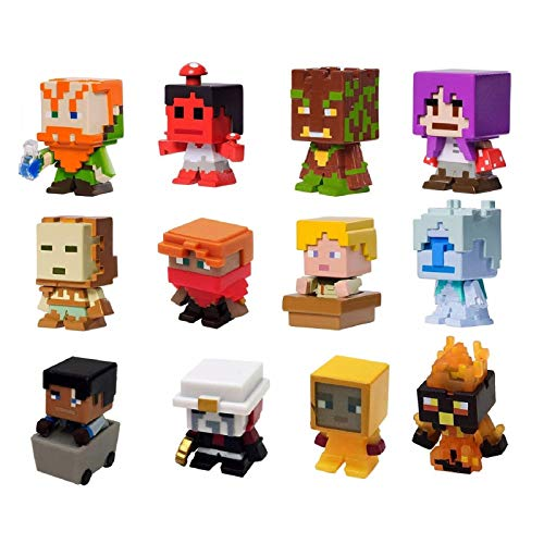 (Mattel Biome Settlers Minecraft Series 8 Complete 12 Mini Figure Blind Set Tundra, Desert, Nether, Forest, Mooshroom Minifigures)