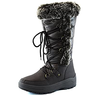 Women's DailyShoes Woman's Knee High Up Warm Fur Water Resistant Eskimo Snow Boots, 5