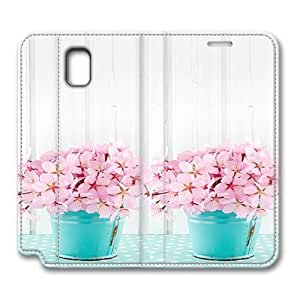 Note3 Case, Samsung Note 3 Case, Pink Cherry Blossoms Pattern Premium PU Leather Flip Protective Skin Case with for Samsung Galaxy Note 4