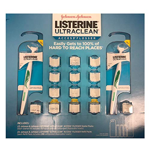 Listerine Ultra-Clean Access Flosser with Two Handles and 100 Disposable Snap Head, Clean Hard to reach Places