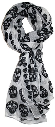 Ted and Jack - Vintage Style Lace Skull Print Scarf (White)