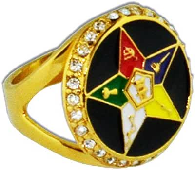 Order of the Eastern Star Ring - Gold Color Black Orb Steel Band with OES Symbol. Masonic Rings / OES Jewelry