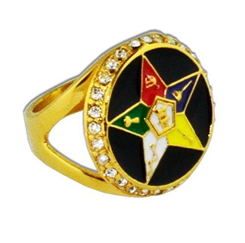 Eastern Star Symbol (Order of the Eastern Star Ring - Gold Color Black Orb Steel Band with OES Symbol. Masonic Rings / OES Jewelry (Size)