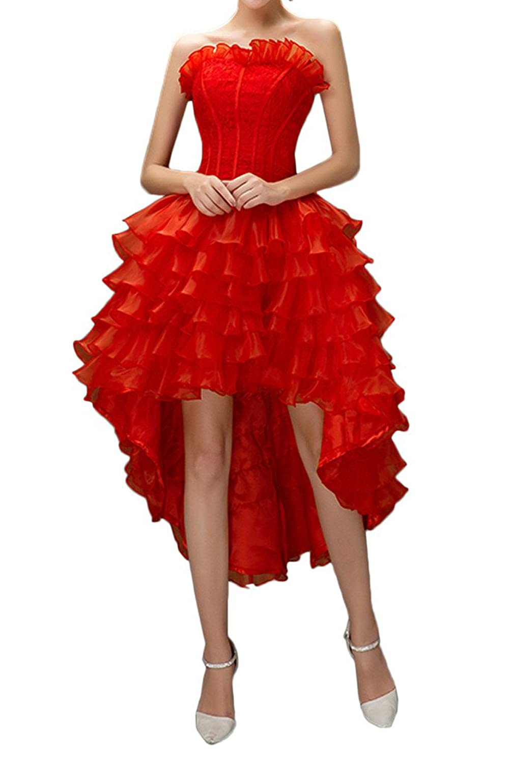 Gorgeous Bride Red Organza Hi-lo Cocktail Prom Dress Layers Bandage