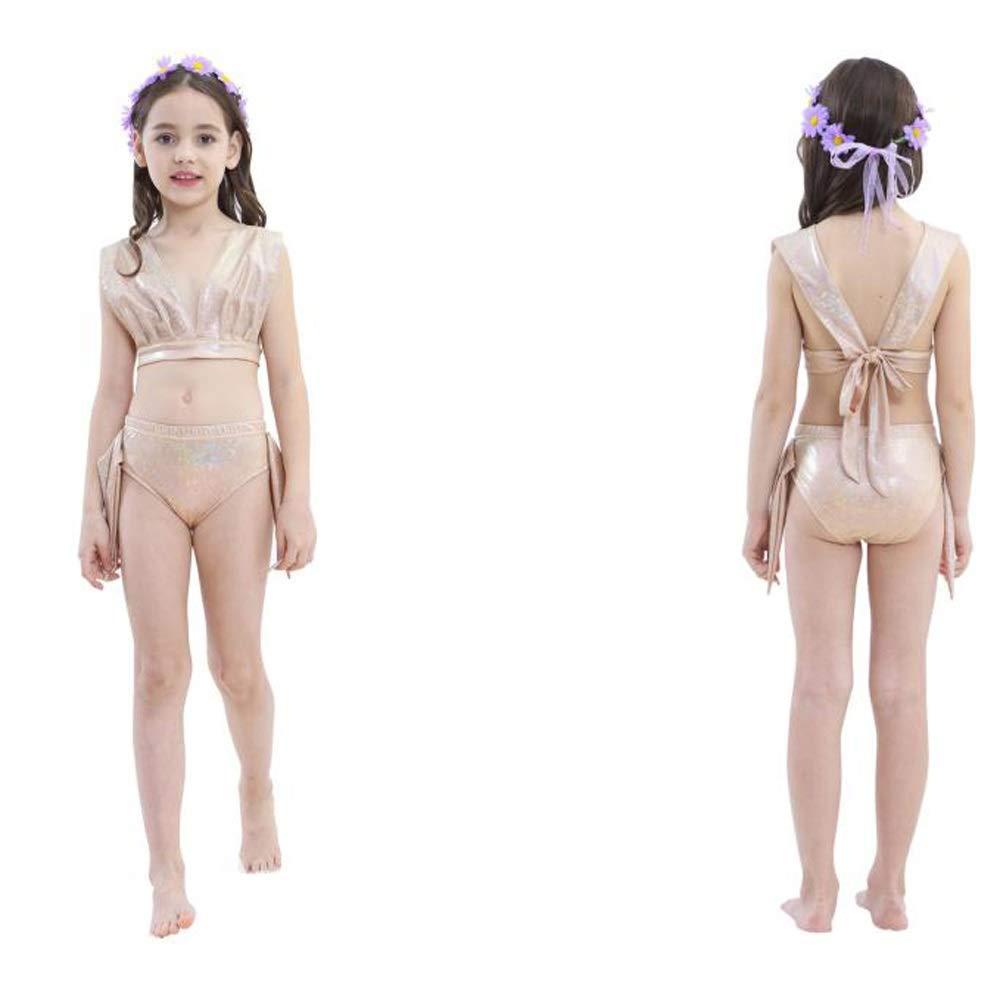 Lml Costume da Bagno Sirena Bambina,Coda di Sirena della Ragazza con Pinne per Nuotare, Bagno 3pcs Insiemi del Bikini