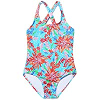 ATTRACO Little Big Girls Fringe Hollow-Out Rainbow Wave Stripe One Piece Swimsuit