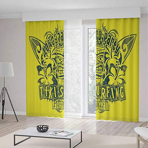 iPrint Tiki Bar Decor Blackout Curtains,Tiki Surf Team Longboard Party Grungy Display Hibiscus Flora Art Decorative,Window Drapes 2 Panel Set, Living Room Bedroom,104 W 95 L,Apple Green Dark Green - Team Longboard