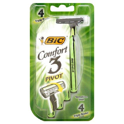 Bic Comfort 3 Triple Blade Disposable Shavers, Men, Sensitive, 4-Count (Pack of 6) SP3OP41