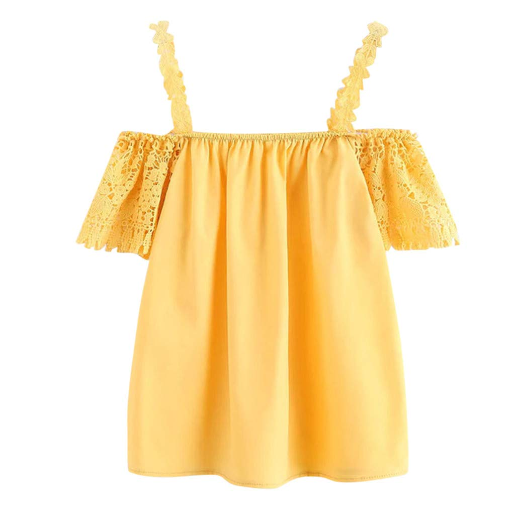 TWGONE Cold Shoulder Tops For Women Summer Short Sleeve Blouse Lace Tank Vest(X-Large,Yellow)