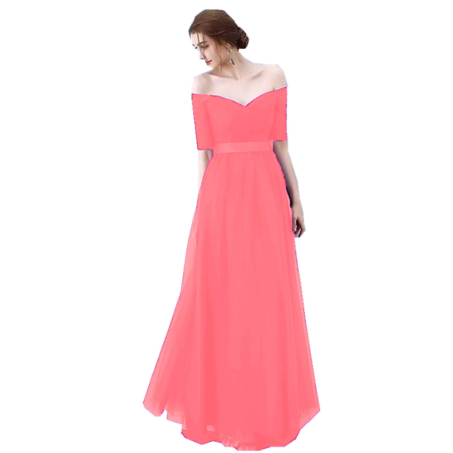 Dark Coral Ruiyuhong Women's VNeck Off The Shoulder Bridesmaid Dresses Long Tulle Wedding Party Gown