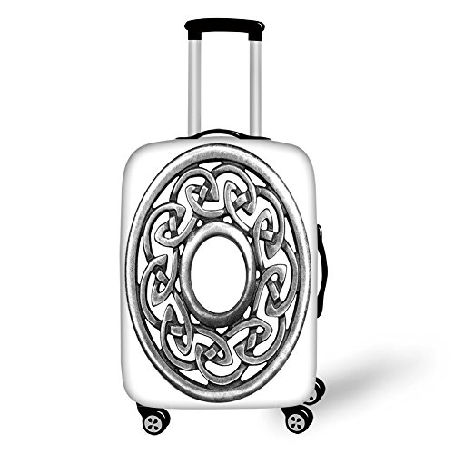 (Travel Luggage Cover Suitcase Protector,Celtic,Royal Style Circular Celtic Pattern Graphic Print Metal Brooch Design Scottish Shield,Silver,for Travel)