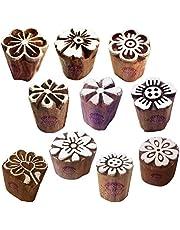 مكعبات طباعة نقش حناء خشبية صغيرة مستديرة (مجموعة من 10)