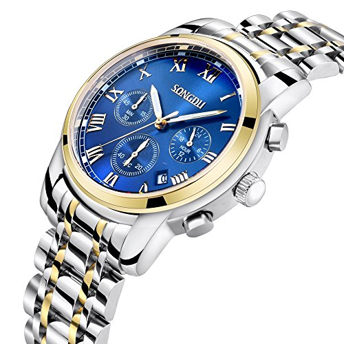 Stainless Steel Chronograph Blue Dial (SONGDU Men's 18K Gold Plated Quartz Wrist Watch Blue Dial Stainless Steel Band Chronograph Analogue Calendar Date Luminous White Hand)