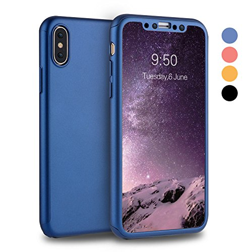 iPhone X Case, iPhone 10 Case, VANSIN 360 Full Body Protection Hard Slim Case Coated Non Slip Matte Surface with Tempered Glass Screen Protector for Apple iPhone X (2017) - Navy Blue