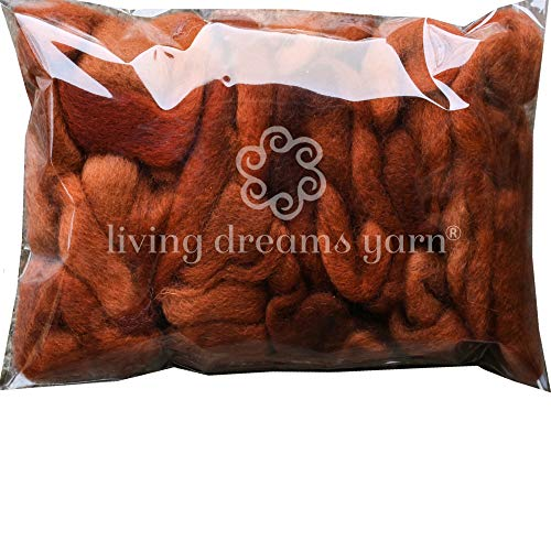 Wool Roving Hand Dyed. Super Soft BFL Combed Top Pre-Drafted for Easy Hand Spinning. Artisanal Craft Fiber ideal for Felting, Weaving, Wall Hangings and Embellishments. 1 Ounce. Brown Rust