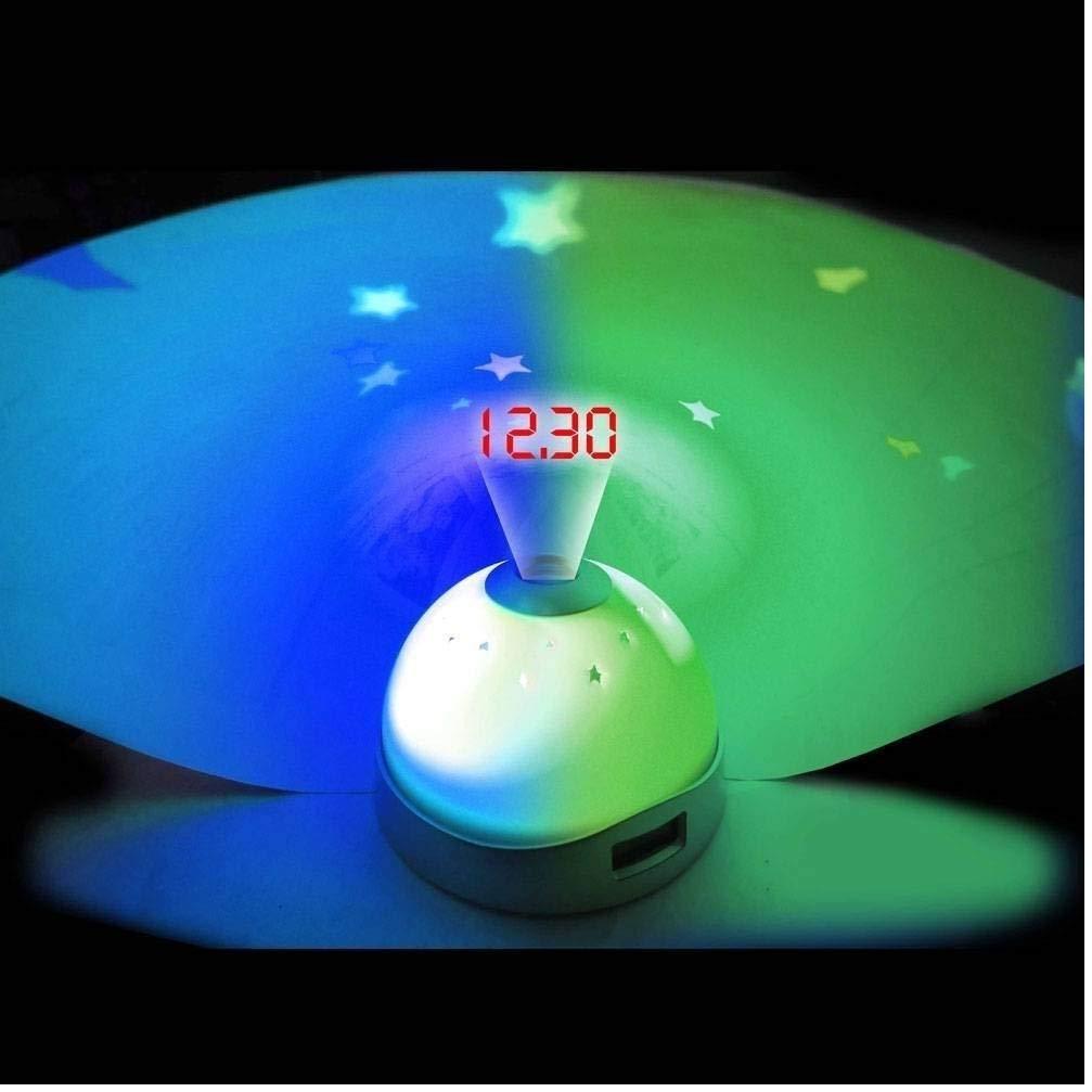 Digitale per addormentarsi Unbekannt HUKITECH per Bambini e Bambini proiettore Cielo Stellato Luce Notturna Orologio Sveglia e proiettore Cielo Stellato