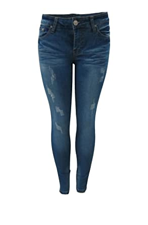 71b441fa9038 Image Unavailable. Image not available for. Colour: 2LUV Women's Distressed  Skinny Jeans ...
