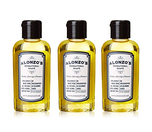 3-Pack | Alonzo's Sensational Premium Natural Shaving Oil for Men | Works as Moisturizing Pre Shave/After Shave/Beard Oil for Face Body & Head | Smooth Pre-Shave 2oz