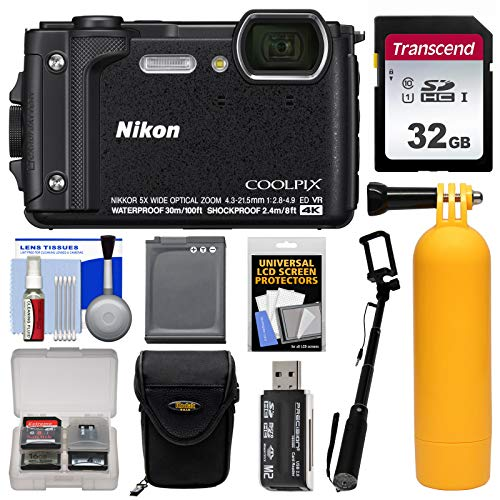 Nikon Coolpix W300 4K Wi-Fi Shock & Waterproof Digital Camera (Black) with 32GB Card + Case + Battery + Monopod + Floating Handle + Kit