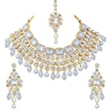 Product review for Aheli Indian Ethnic Maang Tikka Kundan Necklace and Earrings Set Bollywood Festive Jewelry for Women Girls