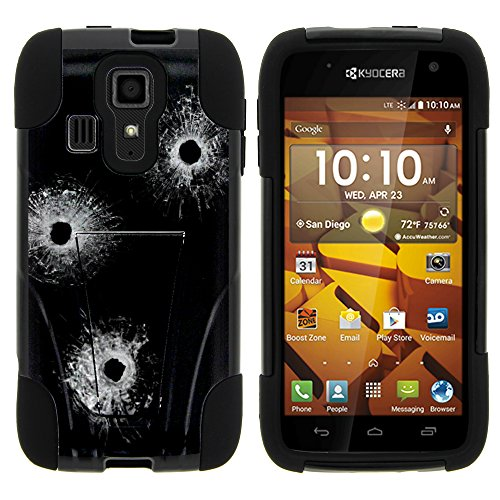 Hydro Icon Case, Dual Layer Shell STRIKE Impact Kickstand Case with Unique Graphic Images for Kyocera Hydro Icon C6730, Kyocera Hydro Life C6350 (Boost Mobile, T Mobile, MetroPCS) from MINITURTLE | Includes Clear Screen Protector and Stylus Pen – Bullet Holes