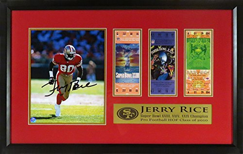(SF 49ers Jerry Rice Autographed 8x10 Photo Display (w/ Replica Super Bowl Tickets) )