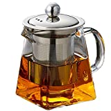 individual teapot and cup - Rerii Glass Teapot with Infuser, 260ml Glass Teapot with Heat Resistant Removable Stainless Steel Infuser for Blooming and Loose Leaf Tea, Personal Glass Teapot, Perfect for One Person Use