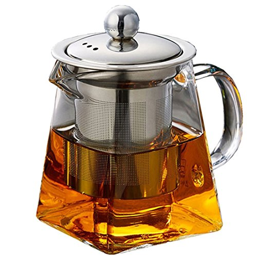 One Glass Teapot - Rerii Glass Teapot with Infuser, 8.9 Oz Glass Teapot with Heat Resistant Removable Stainless Steel Infuser for Blooming and Loose Leaf Tea, Personal Glass Teapot, Perfect for One Person Use