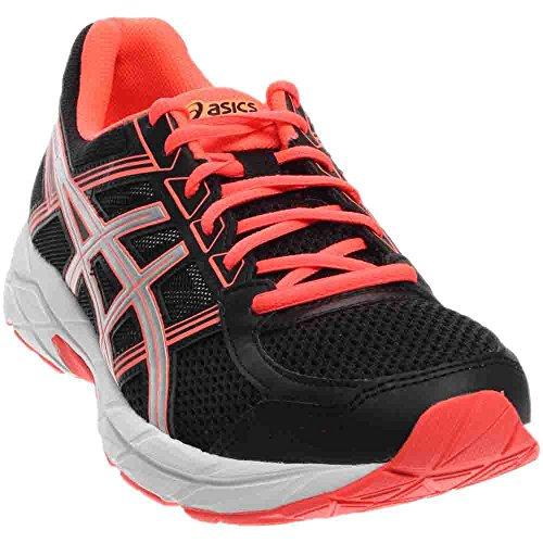ASICS Women's Gel-Contend 4 Running Shoe, Black/Silver/Flash Coral, 5.5 M US