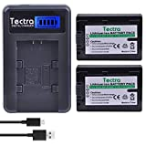 Tectra 2Pcs NP-FV50 NP FV50 Digital Camera Battery + LCD USB Charger for Sony HDR-SR68 DCR-SX85 DCR-SR20E DCR-SR21E HDR-CX190 HDR-CX130 HandyCam Camcorders