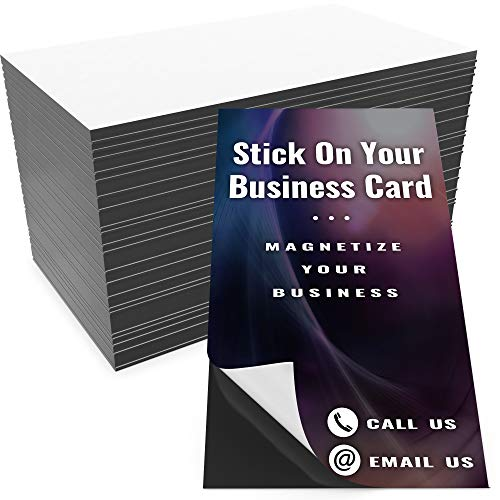 Pro-Grade Adhesive Business Card Magnets 100pk. Blank Peel-and-Stick 2in x 3.5in Magnetizers Turn Company Cards Into Magnetic Contact Info. Strong, Flexible and Small for Realtors, Ads and Promotions