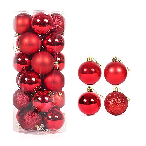 Better Selection 40mm Colorful Christmas Tree Ball Bauble Hanging Xmas Plastic Hanging Baubles Christmas Tree Ornaments 24Pack (Red)