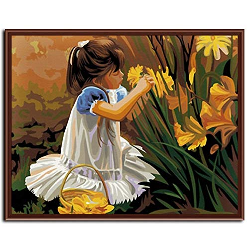 aoyuff Painting by Number DIY Digital Canvas Frameless Pictures Home Decor for Living Room of Little Girl Pick Up Flower