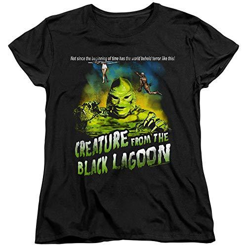A&E Designs Creature from The Black Lagoon Womens T-Shirt Tagline Black, 2XL -