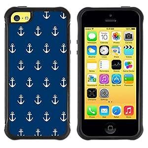 Suave TPU GEL Carcasa Funda Silicona Blando Estuche Caso de protección (para) Apple Iphone 5C / CECELL Phone case / / Navy Anchor Sailor Seaman Boat Sea /