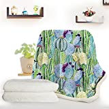 ARIGHTEX Watercolor Cactus Print Blanket College Dorm Blanket with Succulent Fleece Blanket Soft Warm Fuzzy Plush Throw (50 x 60 Inches)