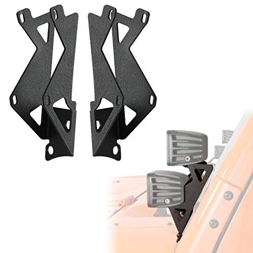 ALAVENTE Dual Lower Windshield LED Light Mounts Brackets for JK Jeep Wrangler