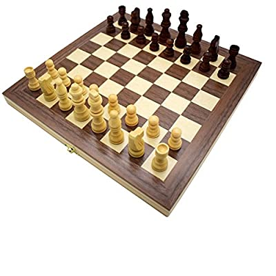Wooden Checkers Board Game and Folding Travel Chess and Checkers Set with Potable Storage Bags Chess Game Board with manual